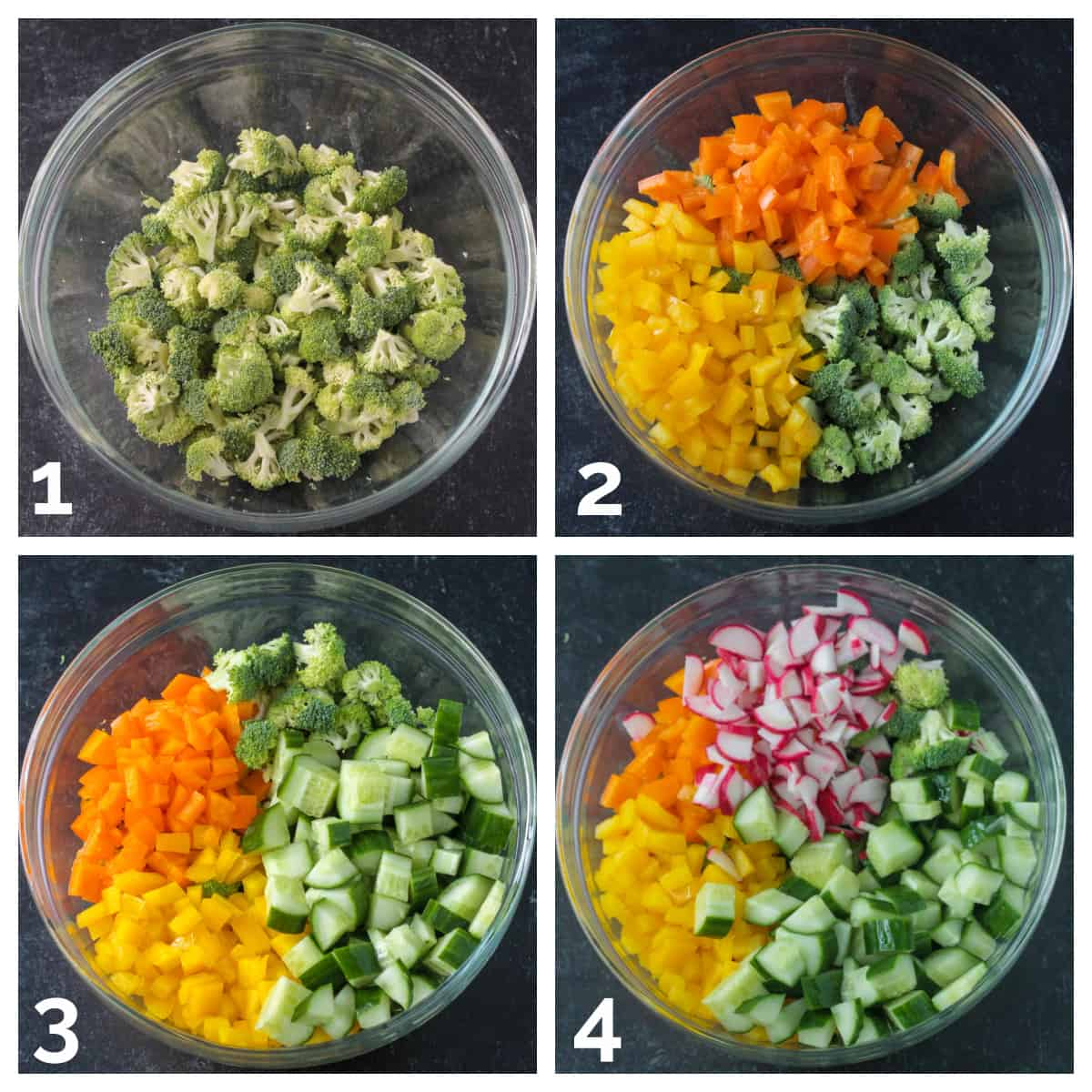 4 photo collage of adding chopped broccoli, bell peppers, cucumbers, and radishes to a bowl.