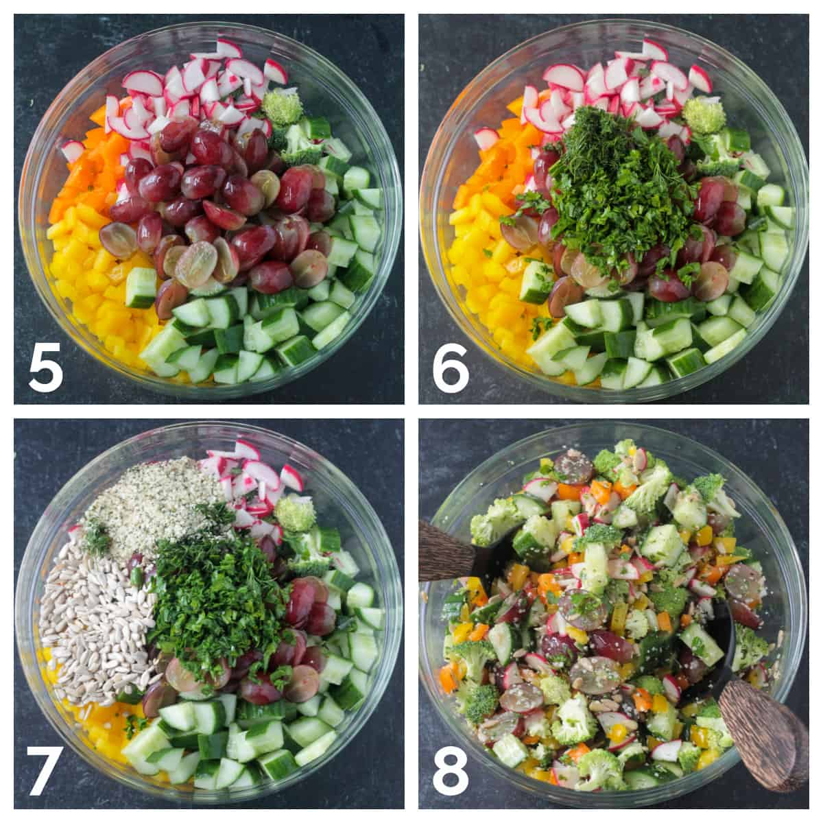 4 photo collage of adding halved red grapes, chopped fresh herbs, and seeds to the bowl and mixing it well.