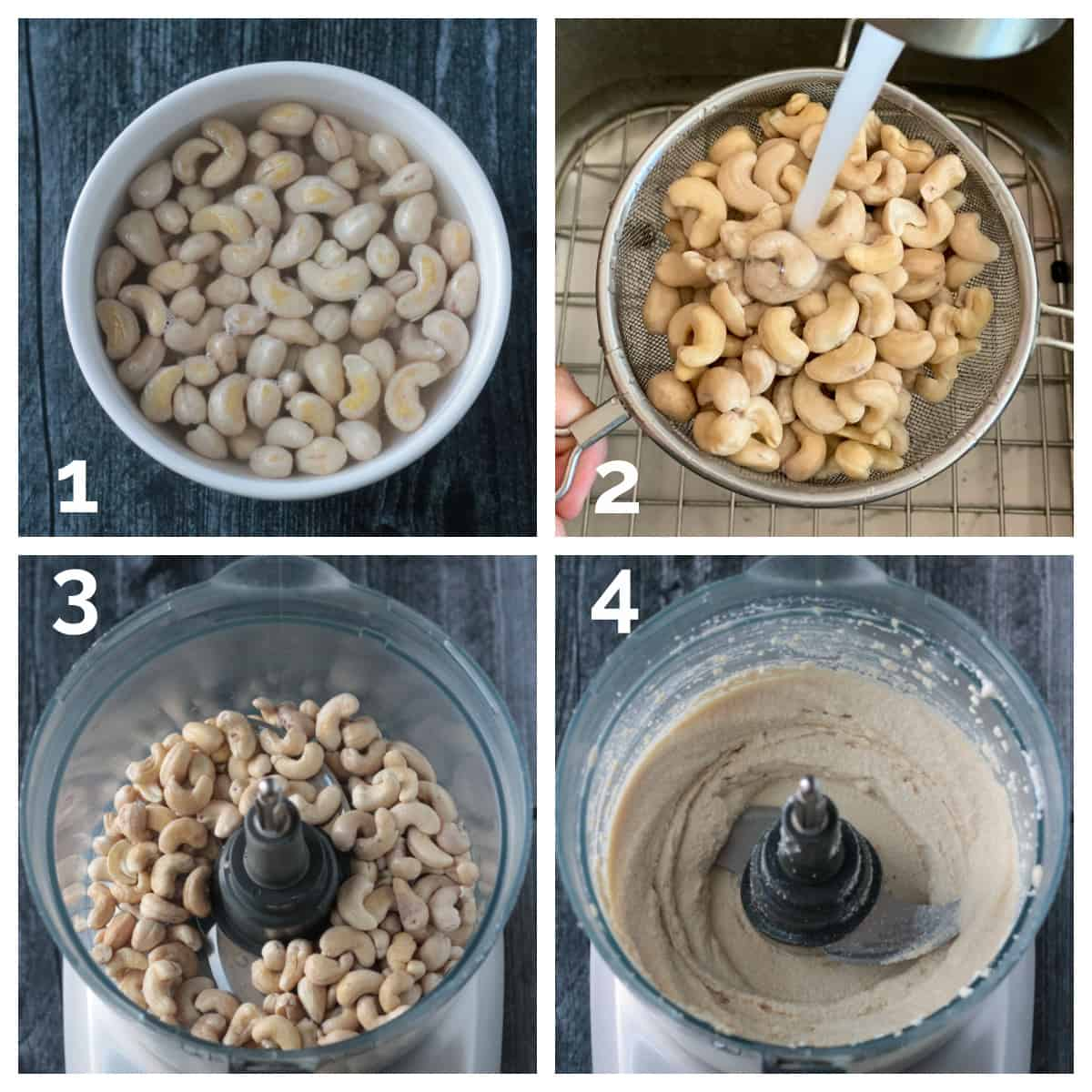4 photo collage of soaking, rinsing, and blending the cashews in a food processor.
