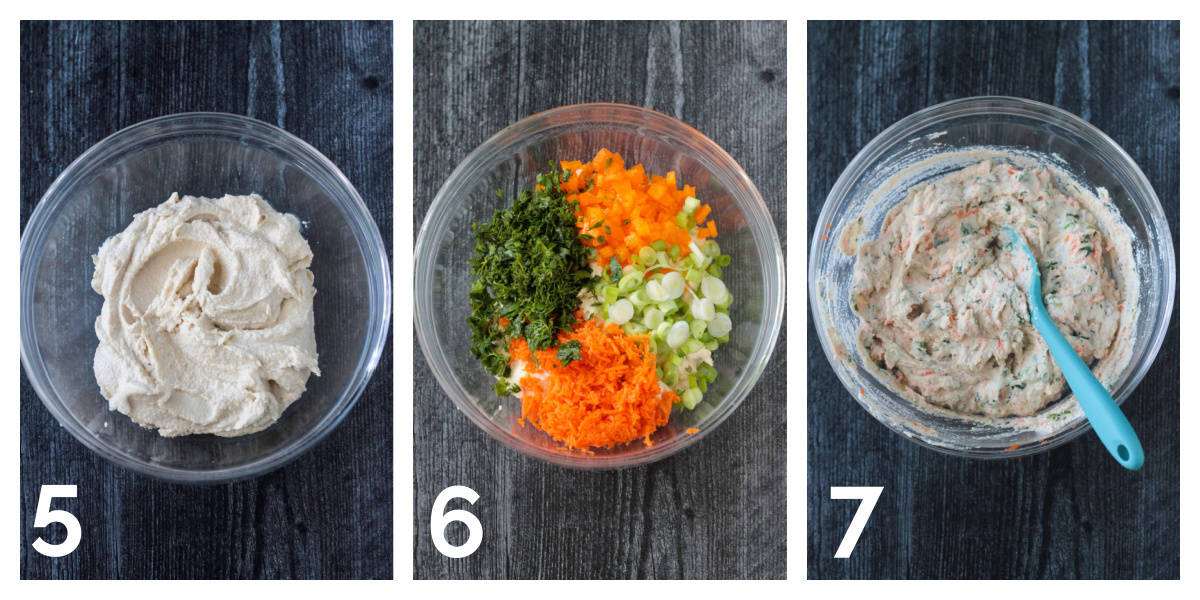 3 photo collage of stirring in the vegetables to the cream cheese mixture.