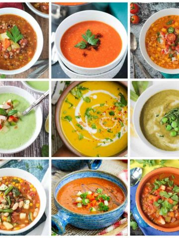 Collage of 9 soup recipes.