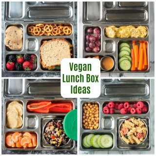 4-photo collage of lunch box meals