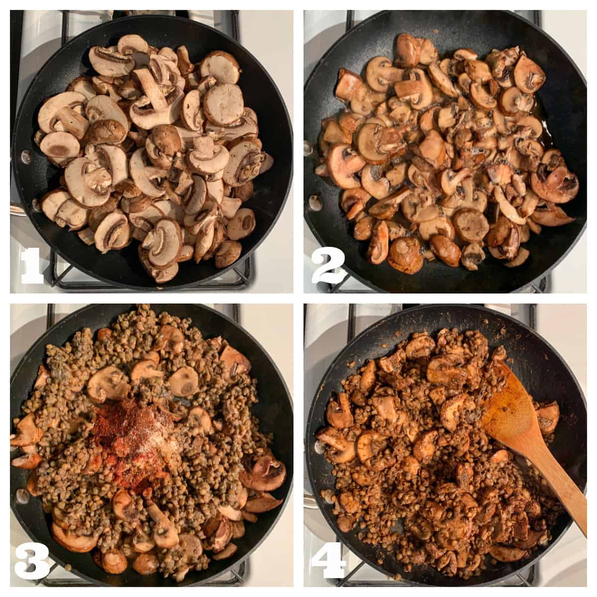 Four photo collage of cooking the mushrooms, lentils, and spices.