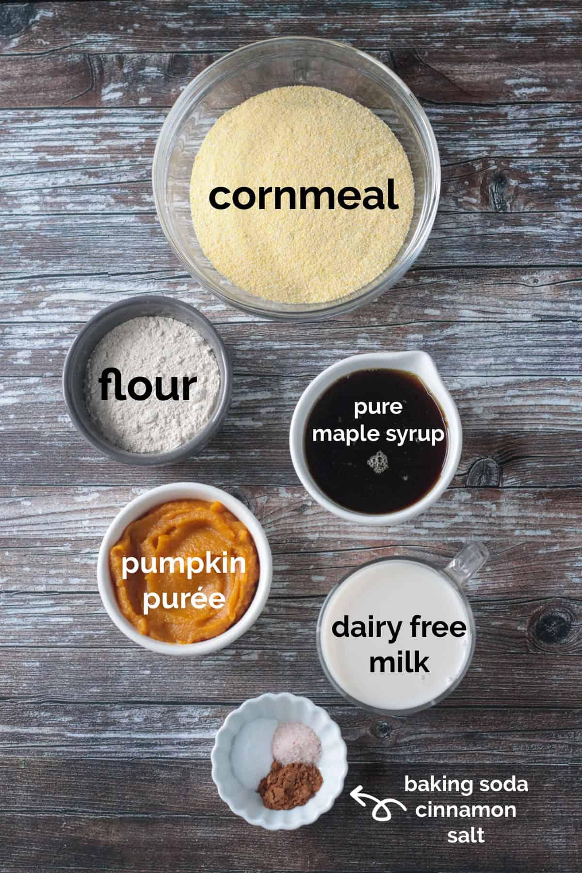 Recipe ingredients arrayed in individual bowls.