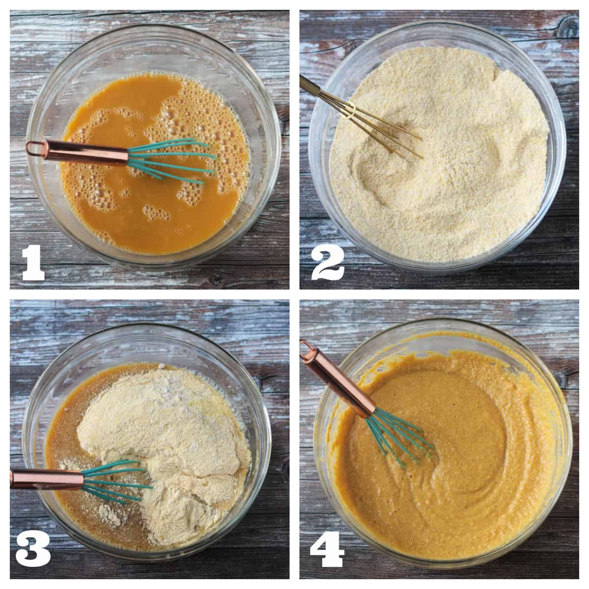 4 photo collage of whisking the dry and wet ingredients and combining them.