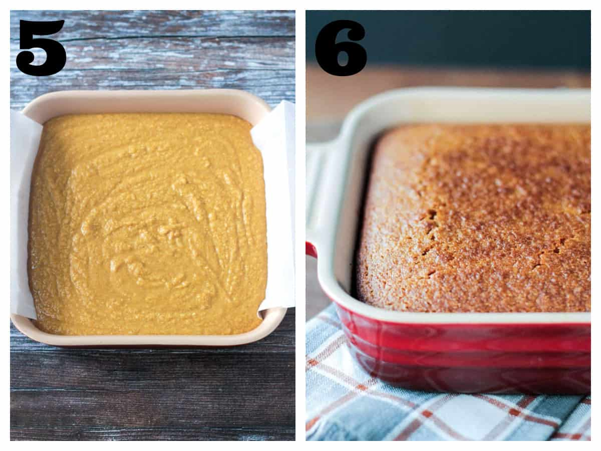 2 photo collage of cornbread batter and baked cornbread in a baking dish.