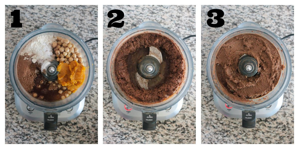 3 photo collage of making brownie batter in a food processor.