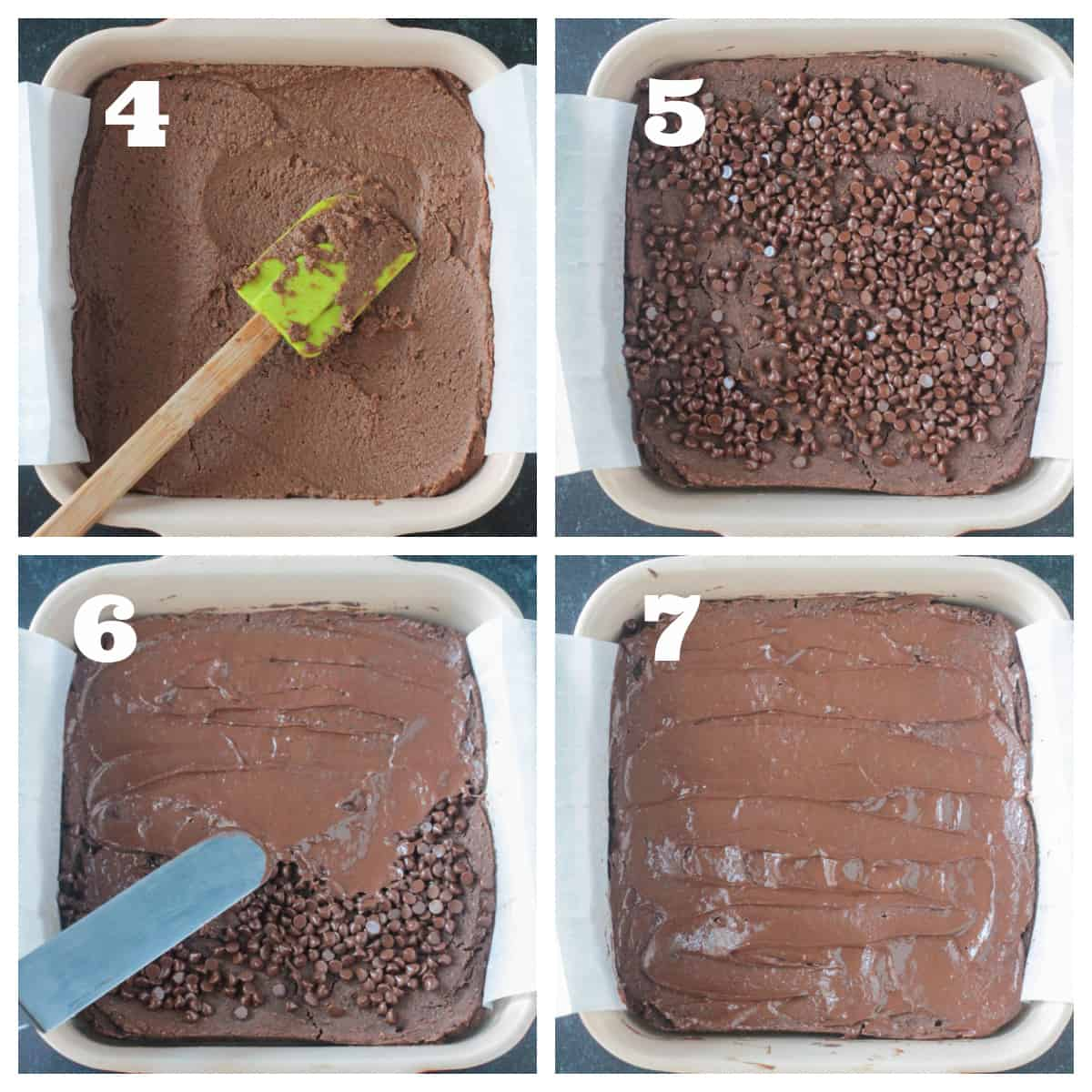4 photo collage of spreading the batter into a pan and melting chocolate chips for frosting.