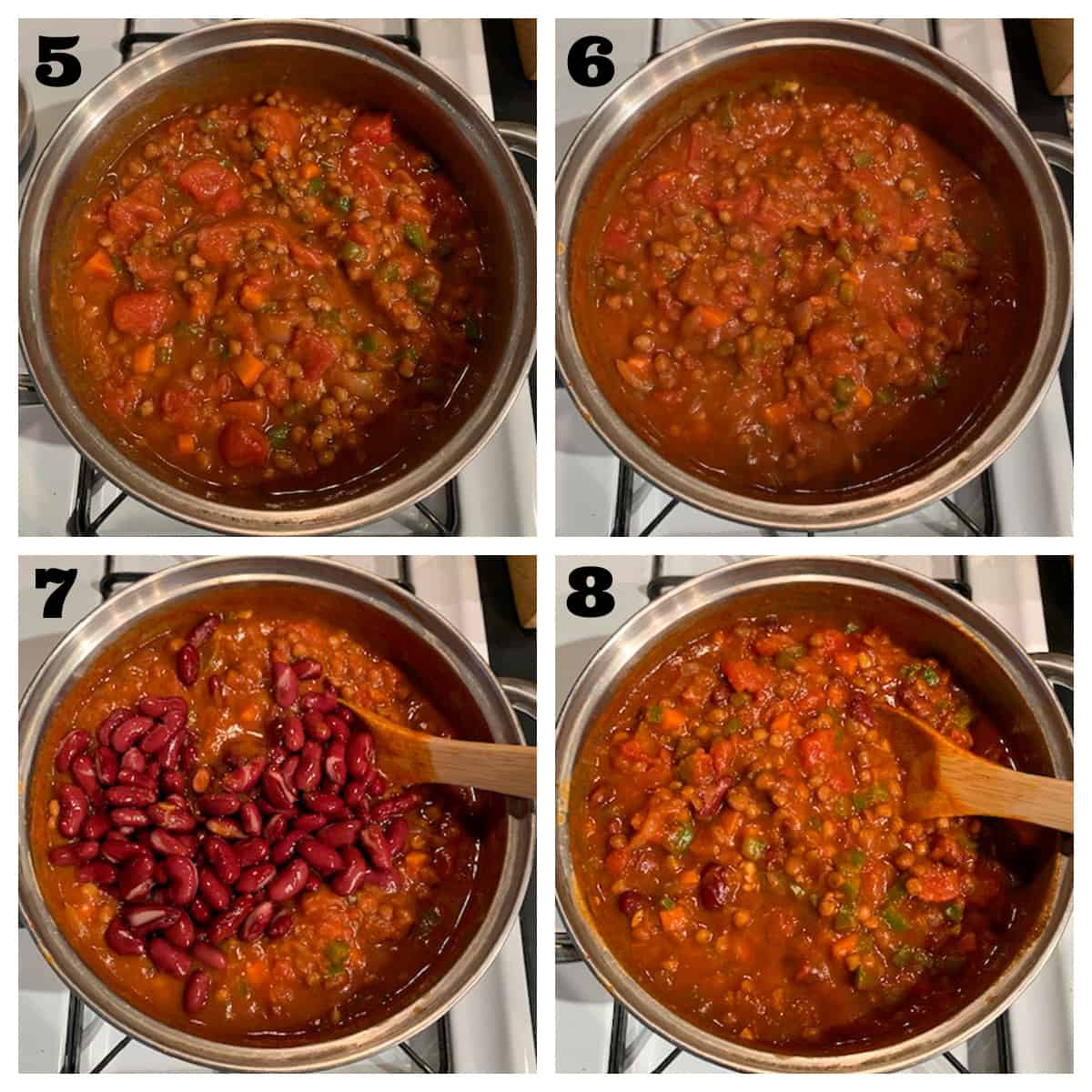 4 photo collage of simmering the chili and adding beans.