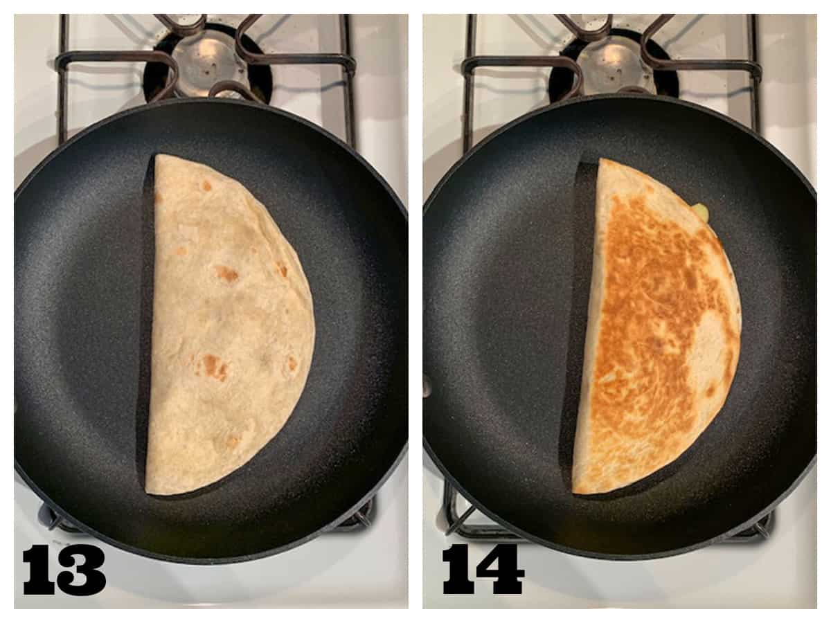 2 photo collage of pan frying a folded over filled tortilla until browned.