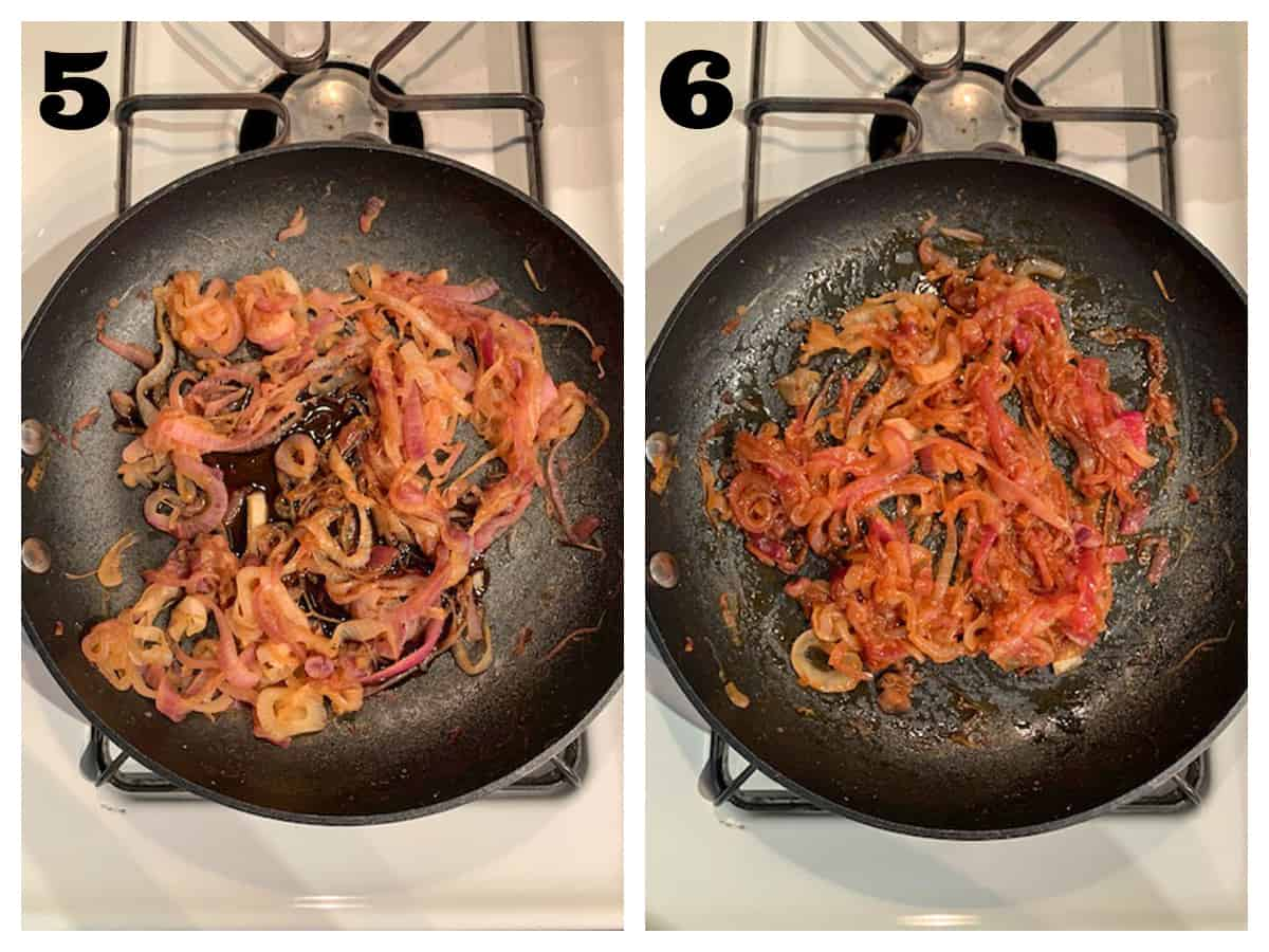 2 photo collage of adding balsamic vinegar to caramelized onions.