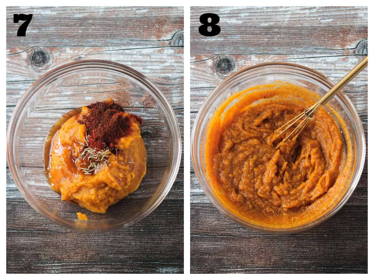 2 photo collage of mixing the pumpkin filling ingredients in a glass bowl.
