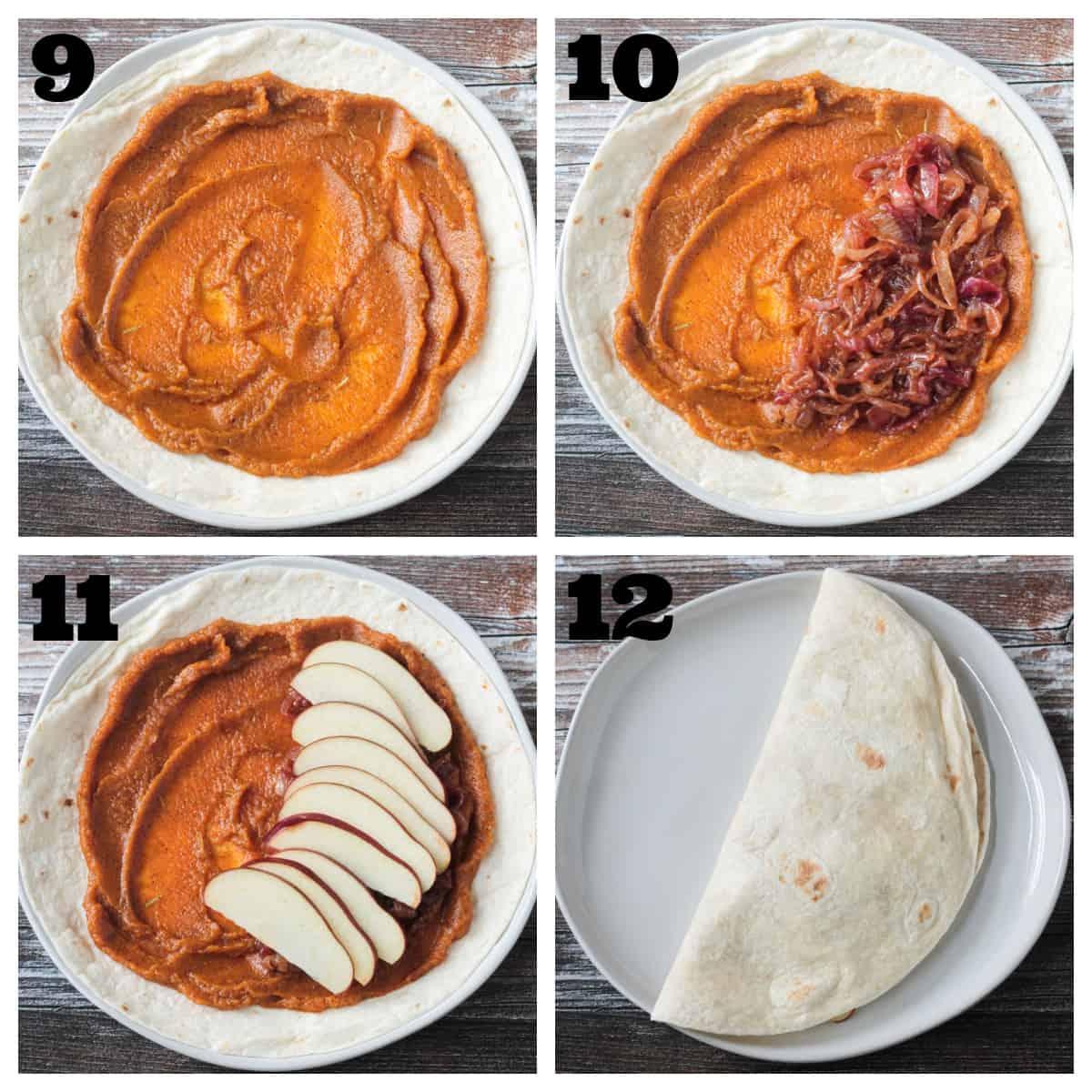 4 photo collage of assembling a pumpkin, apple, onion quesadilla.