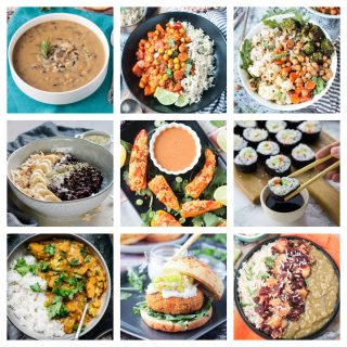 9 photo collage of healthy rice recipes.