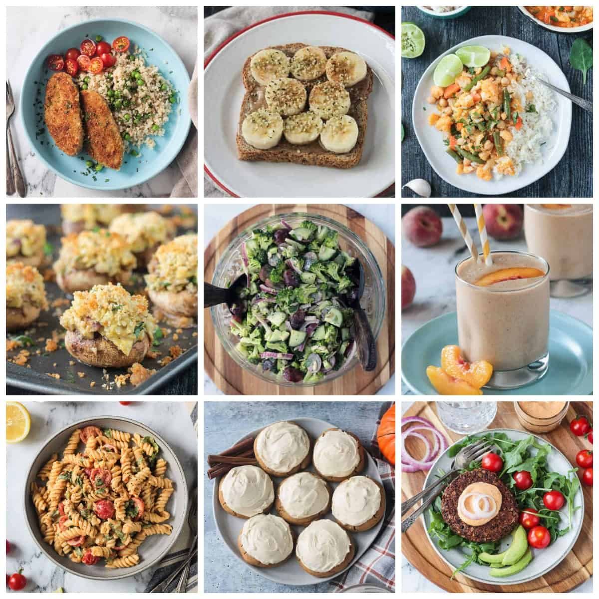 9 photo collage of popular vegan recipes.