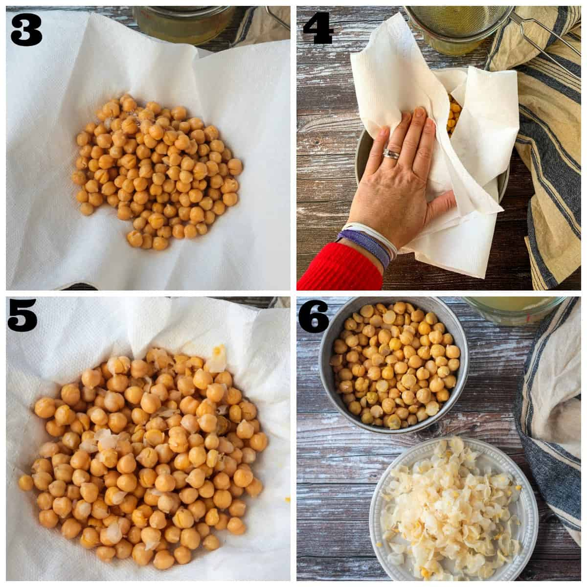 4 photo collage of drying and peeling the chickpeas.