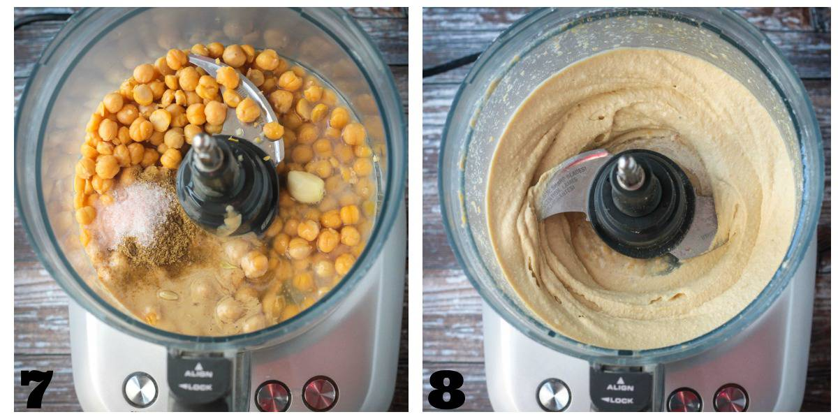 2 photo collage of blending the hummus ingredients in a food processor.