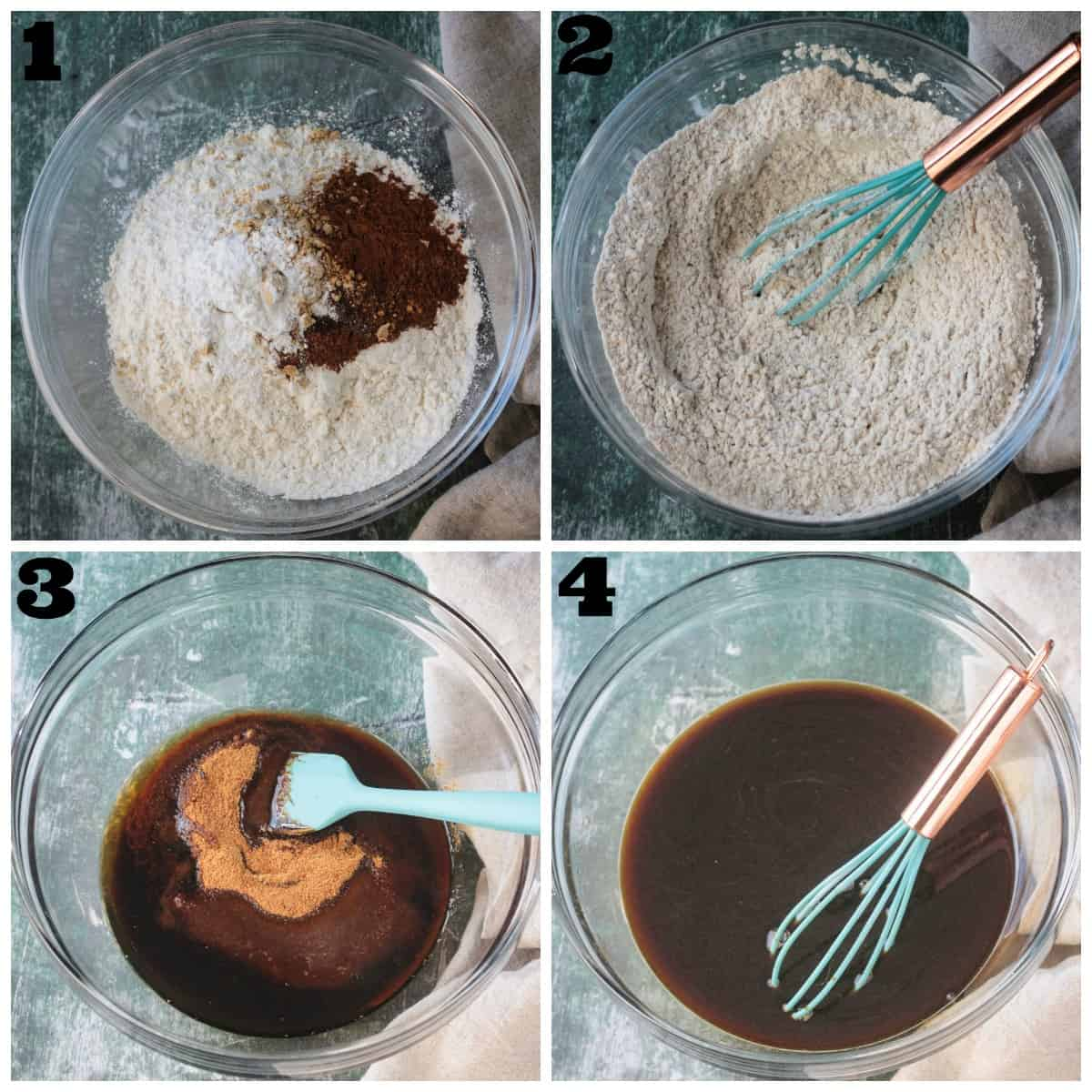 4 photo collage: whisking dry ingredients and whisking wet ingredients.