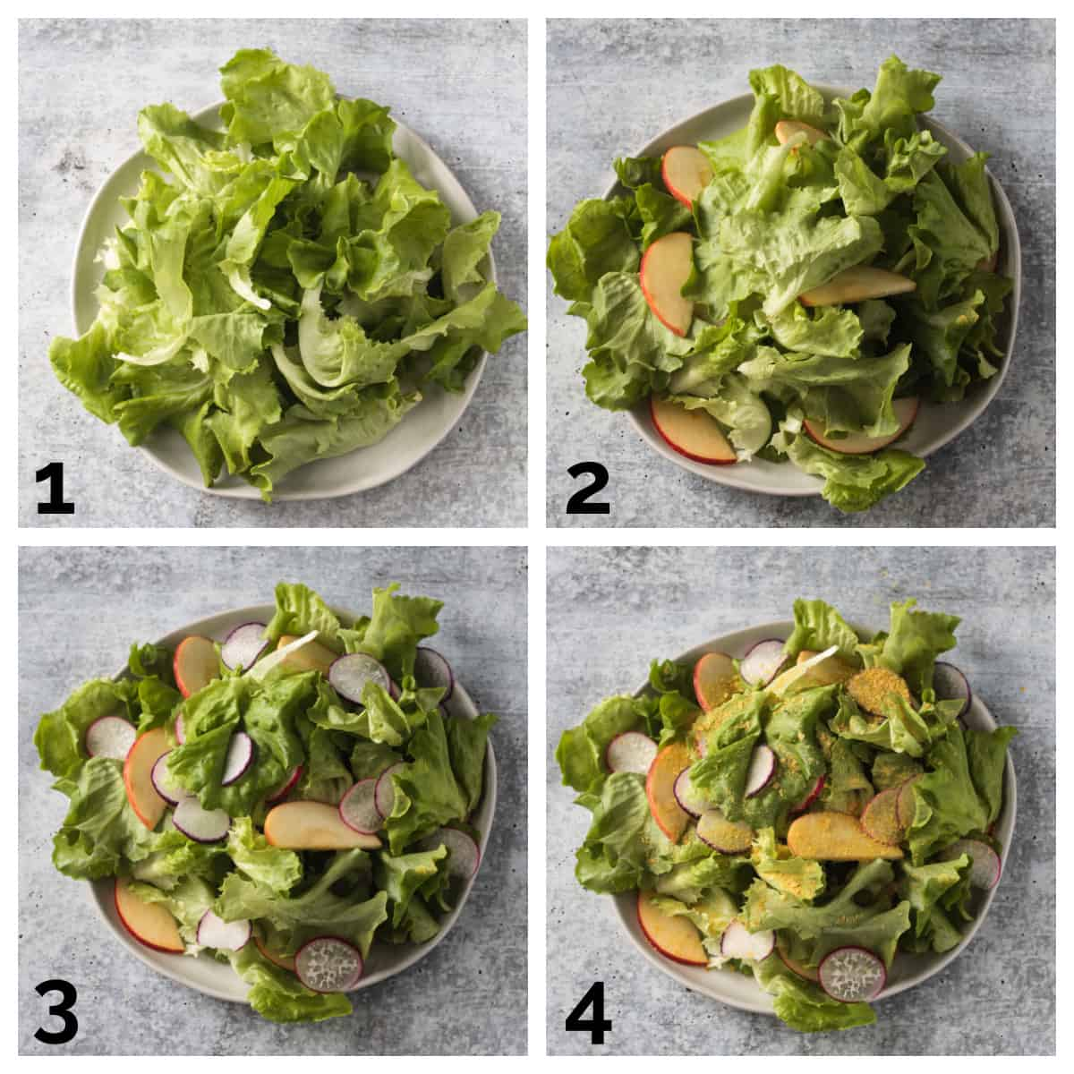 4 photo collage of assembling the lettuce, apples, radishes, and nutritional yeast.
