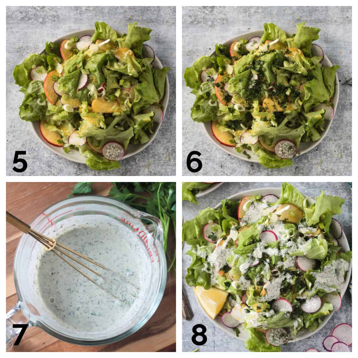 4 photo collage of assembling the green onions, fresh herbs, vegan ranch, and finished salad.