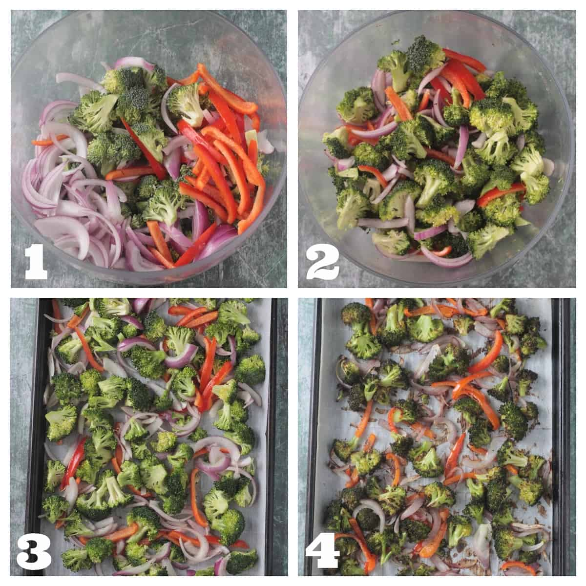 4 photo collage of prepping and roasting broccoli, peppers, and onion.