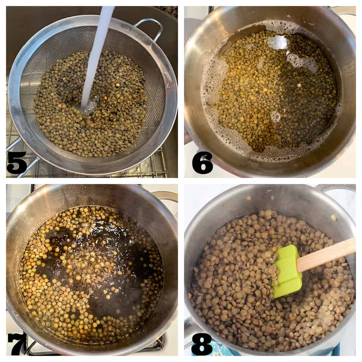 4 photo collage of rinsing and cooking lentils.