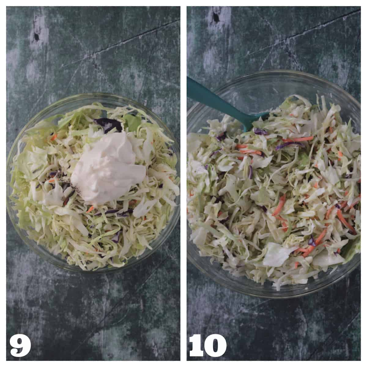 2 photo collage of making coleslaw.