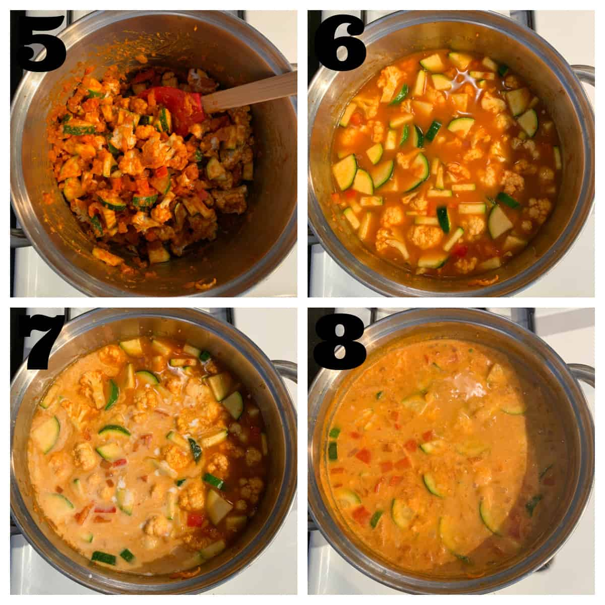 4 photo collage of adding vegetables, broth, and coconut milk to the pot.