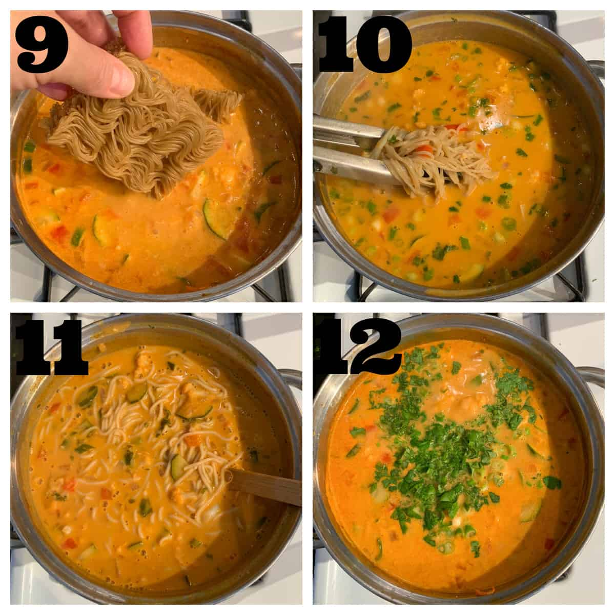 4 photo collage of adding noodles and garnishes to the soup pot.