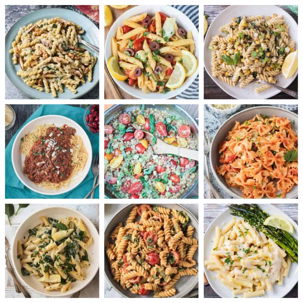 Collage of 9 vegan pasta recipes.
