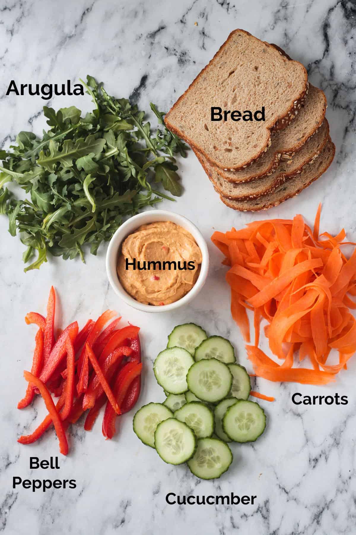 Recipe ingredients arrayed in individual bowls