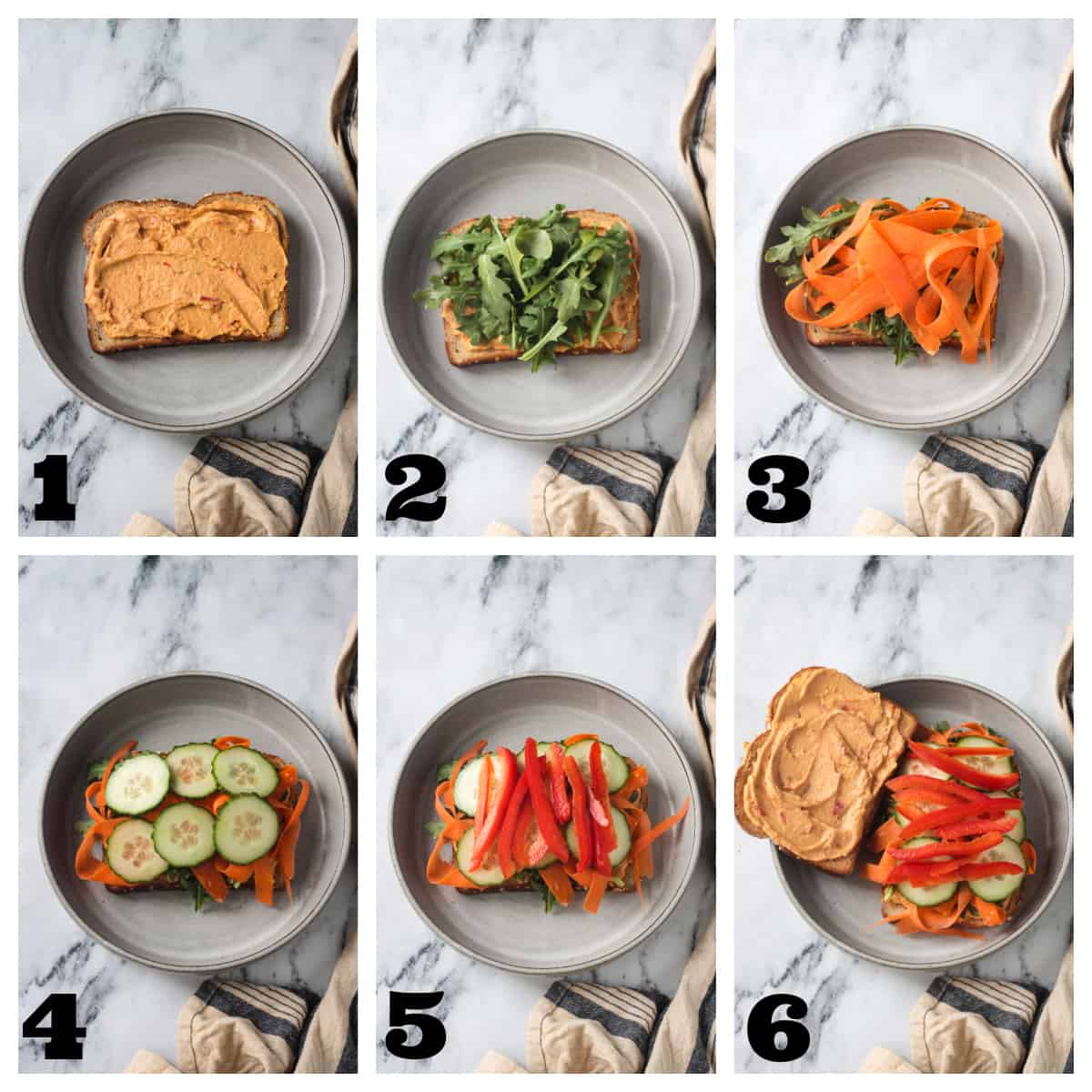 6 photo collage of step by step instructions on making a hummus sandwich.