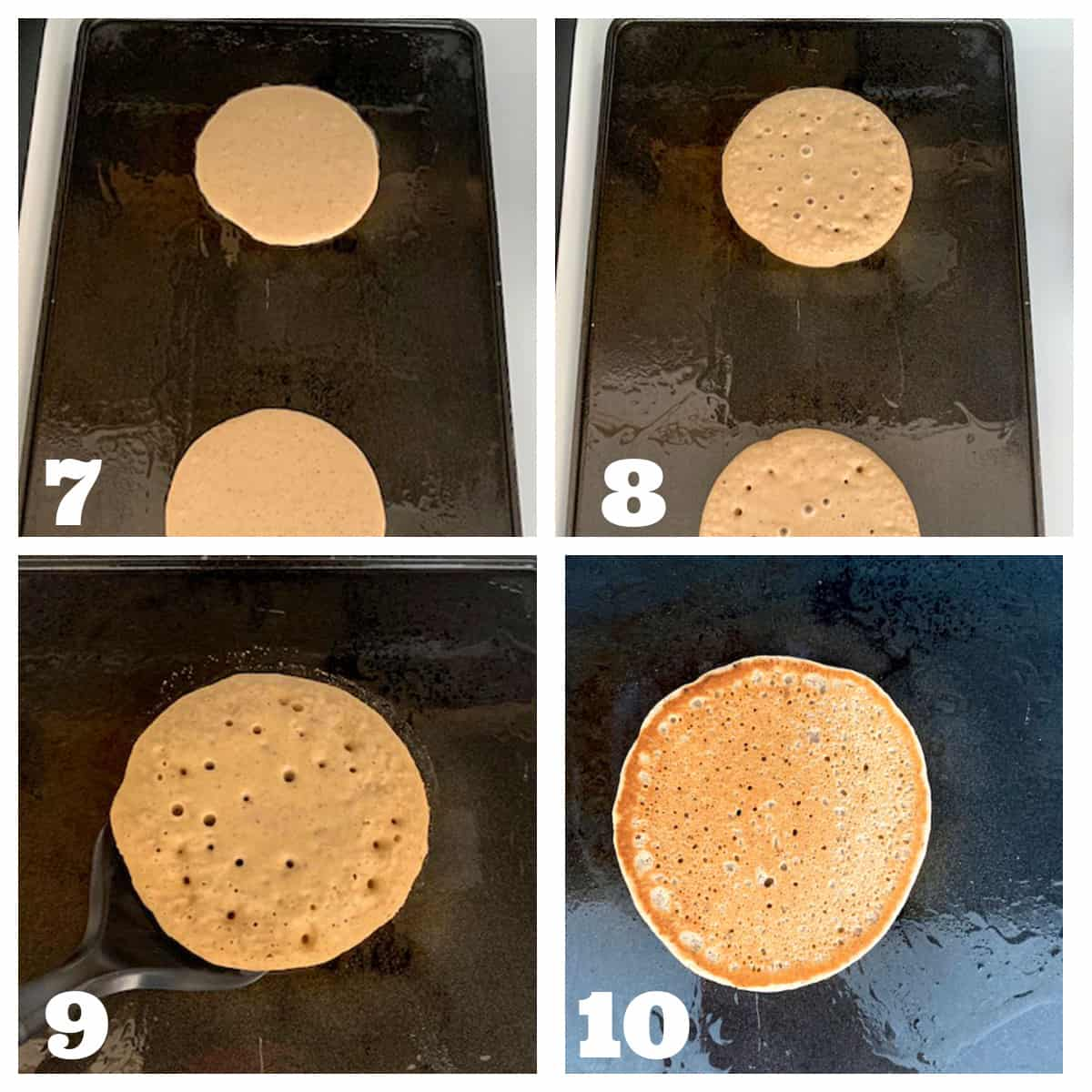 4 photo collage of cooking pancake batter on a griddle and flipping the pancakes.