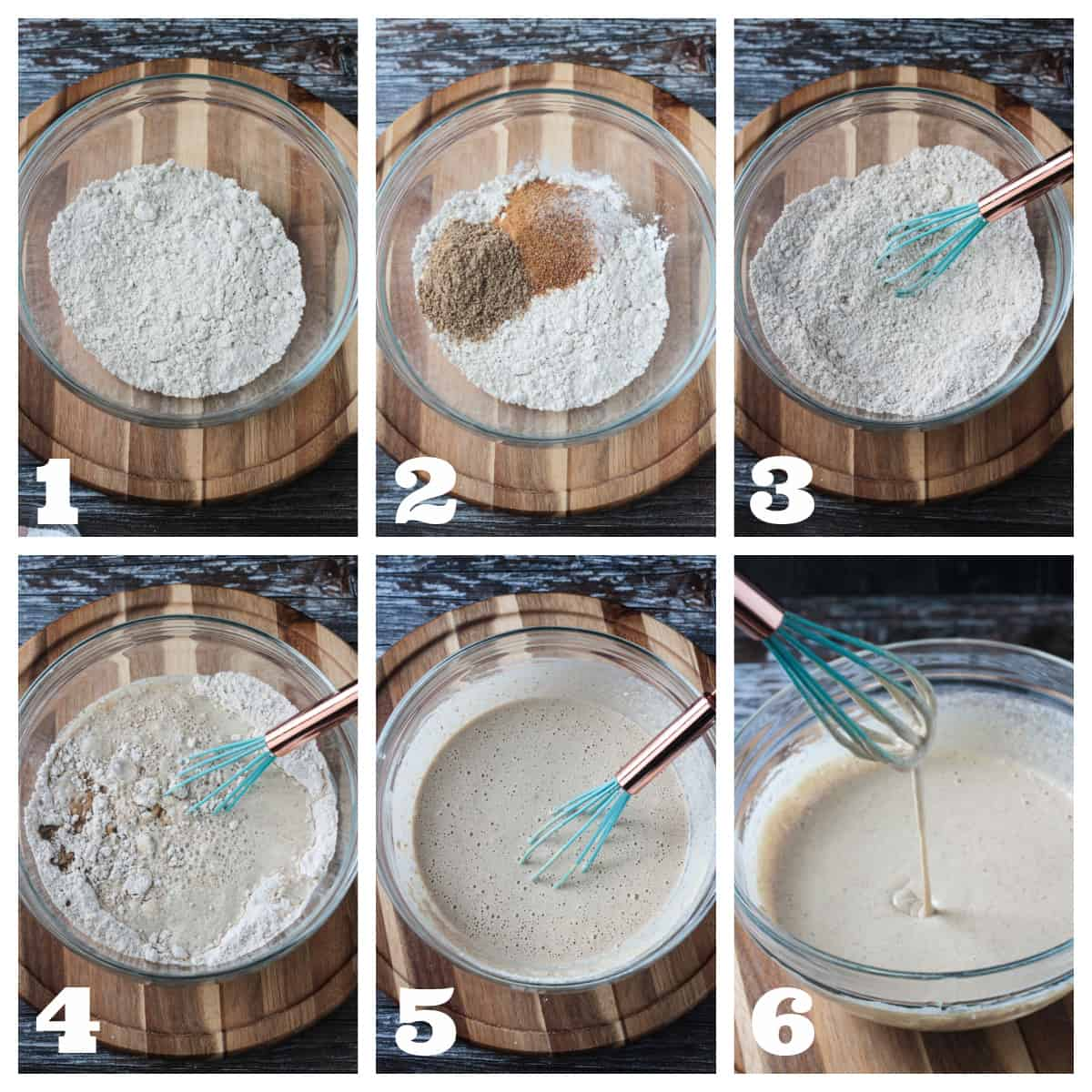 6 photo collage of prepping and whisking the pancake batter.