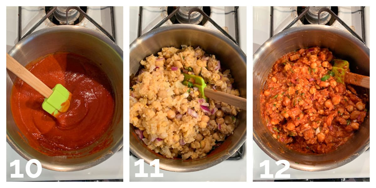 3 photo collage of adding ingredients to the bbq sauce and simmering on the stove.