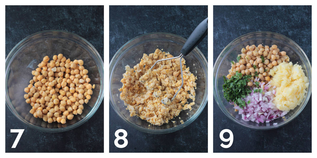 3 photo collage of mashing chickpeas and adding the remaining ingredients.