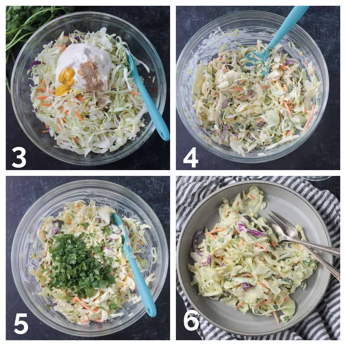 4 photo collage of mixing the coleslaw and garnishing with cilantro.