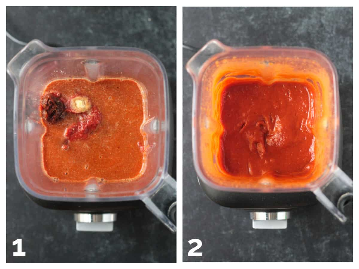 Two photo collage of blending the BBQ sauce in a Vitamix blender.