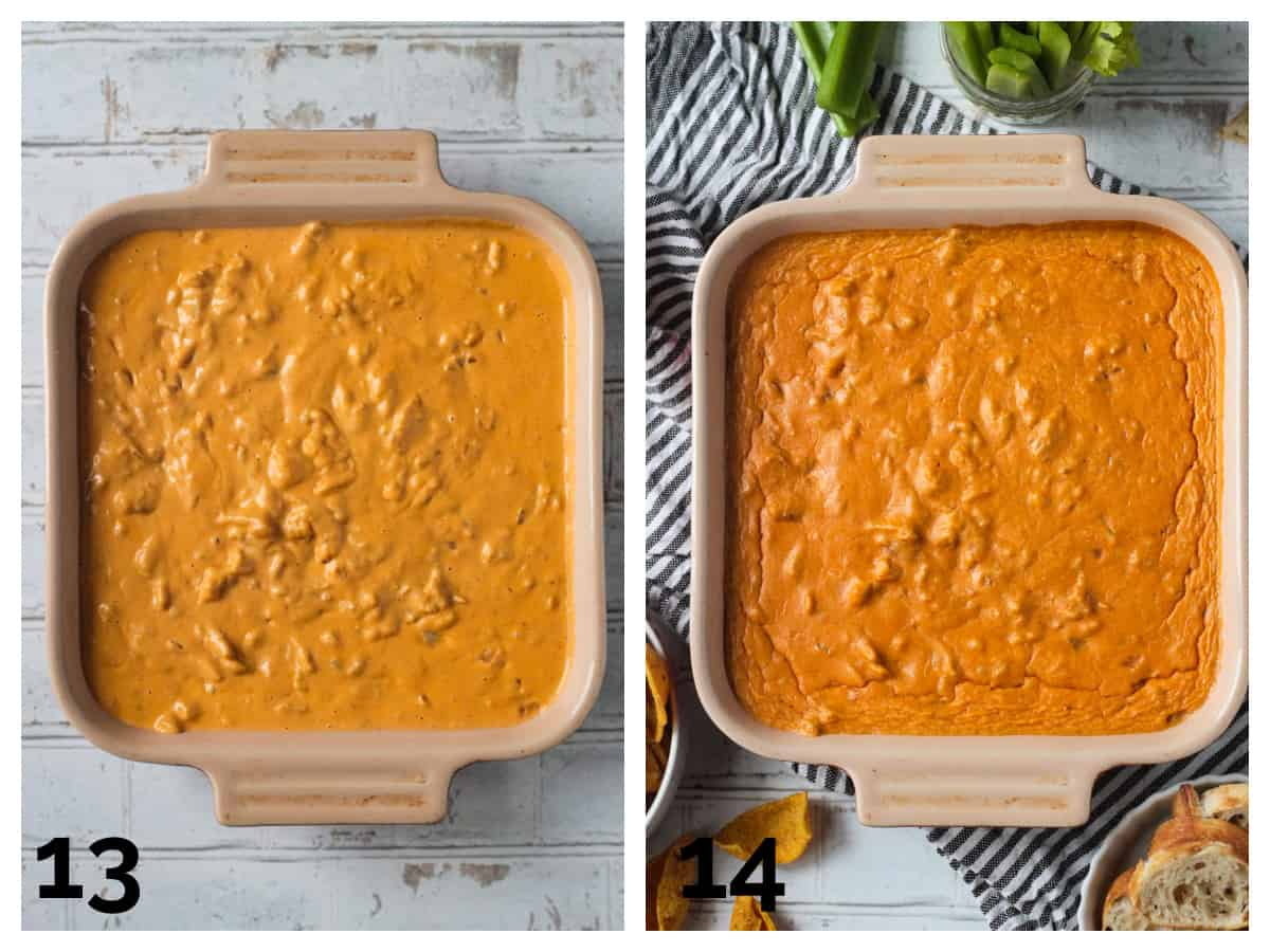 2 photo collage of unbaked and baked vegan buffalo chicken dip.