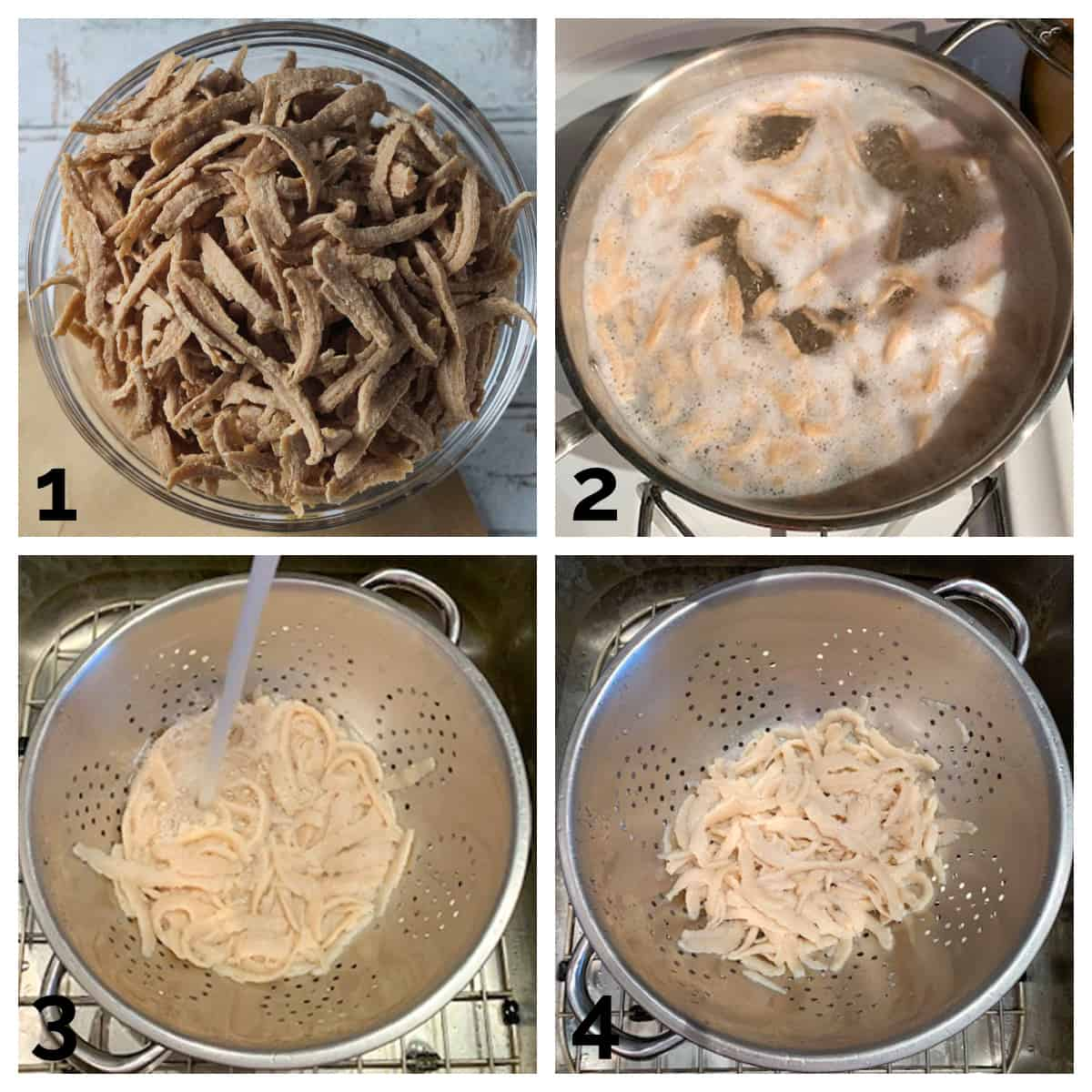 4 photo collage of boiling, rinsing, and draining the shreds.