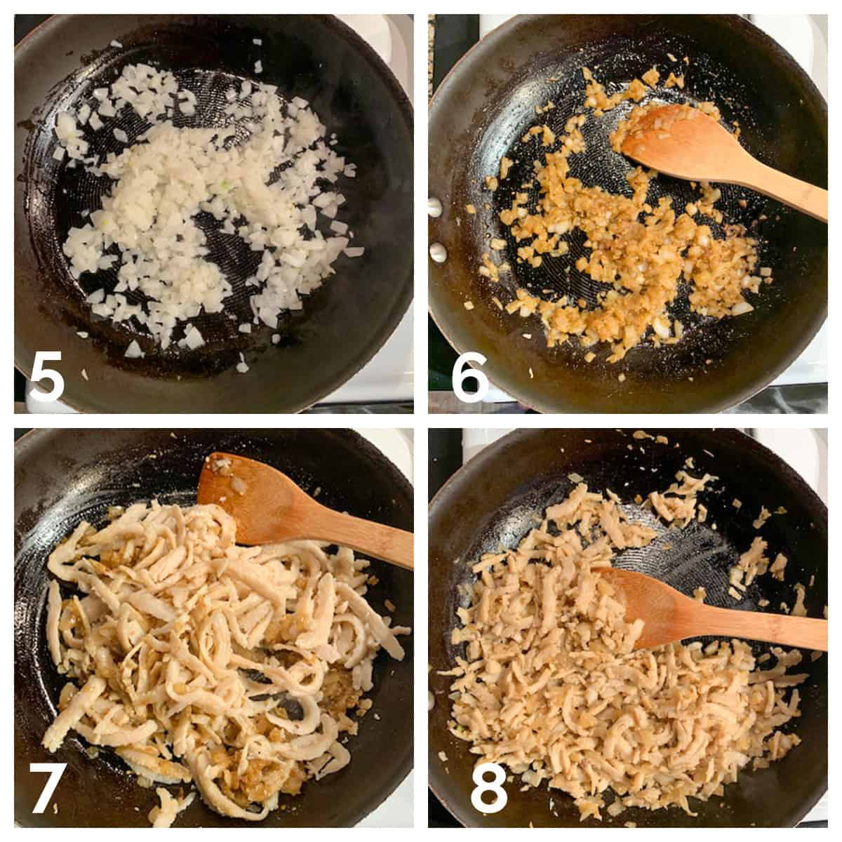 4 photo collage of sautéing the onions, spices, and vegan chicken shreds.