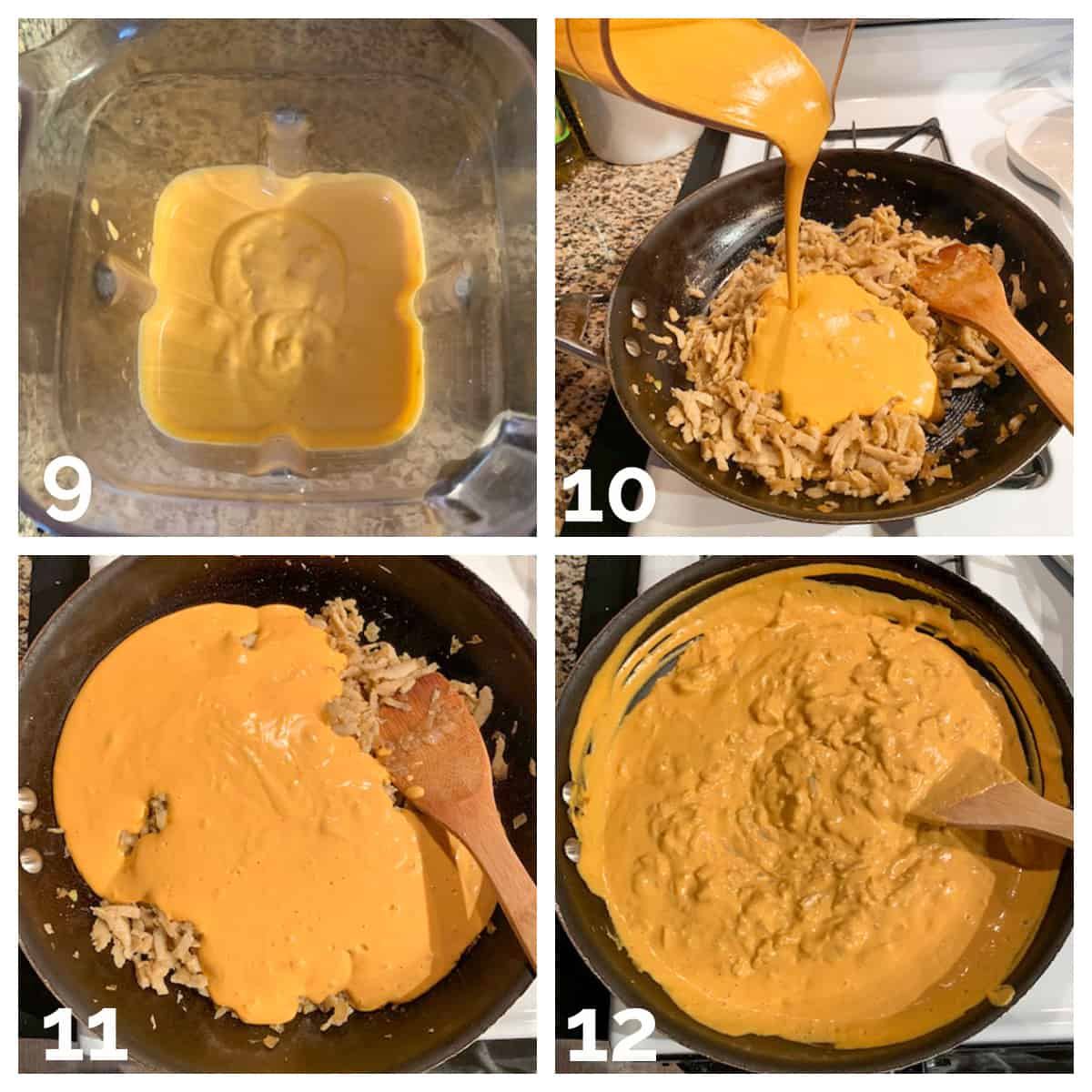 4 photo collage of blending the sauce and adding it to the skillet.