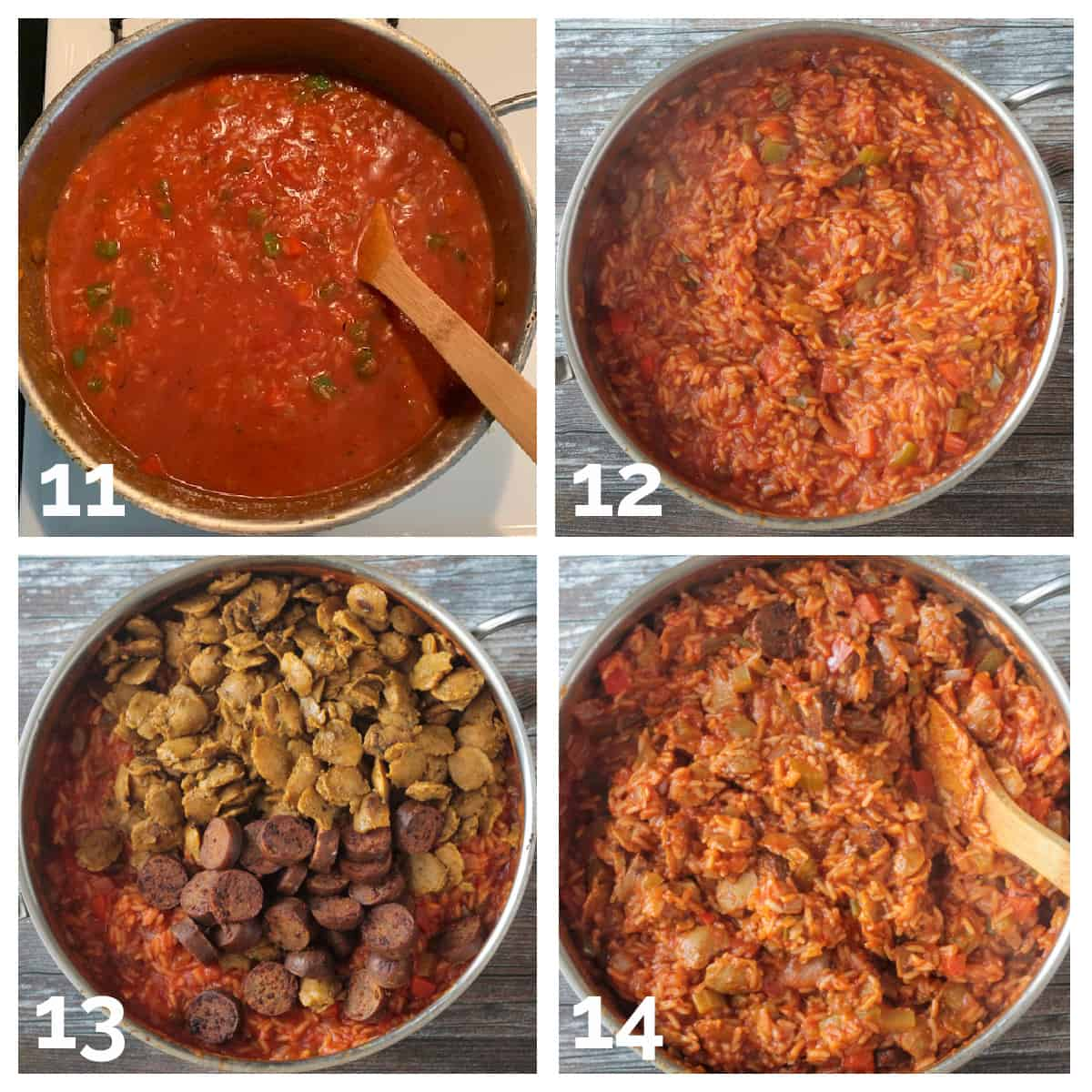 4 photo collage of adding tomatoes, broth, sausage and soy curls to the mixture.