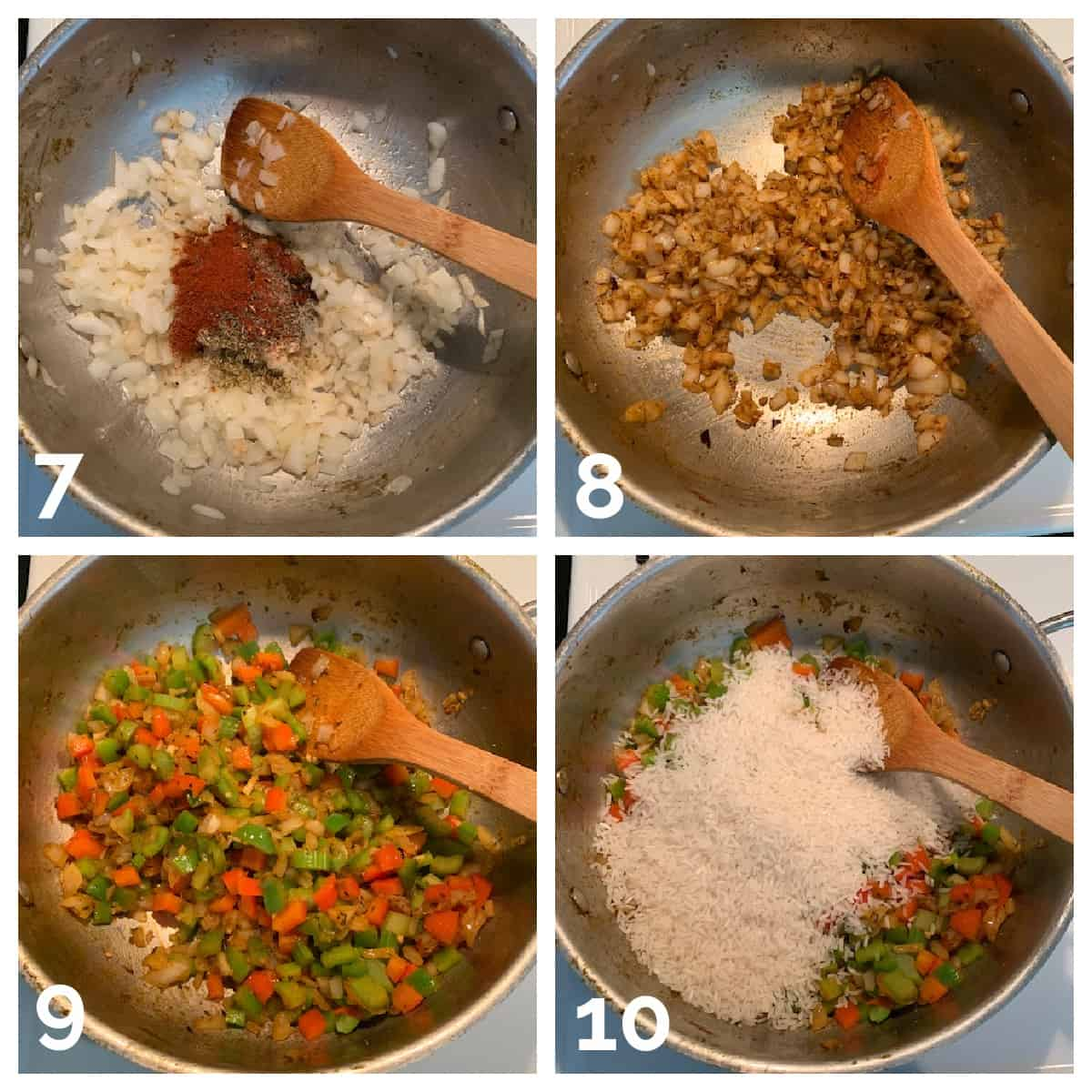 4 photo collage of cooking veggies and spices and adding rice.