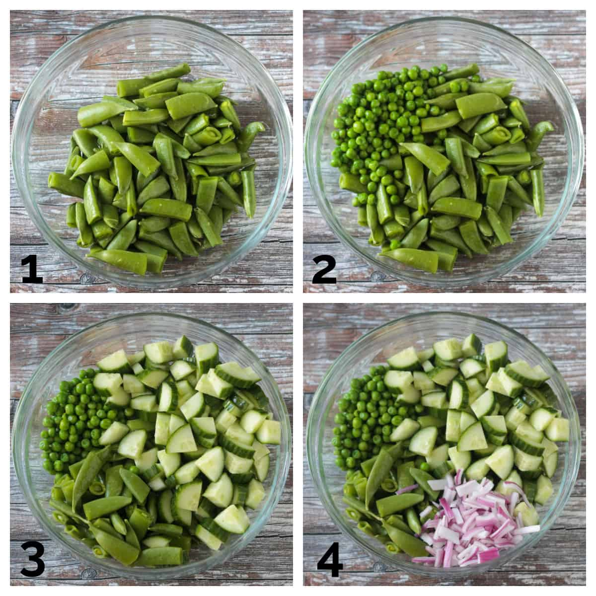 4 photo collage of adding the snap peas, sweet peas, cucumbers, and red onions to a bowl.