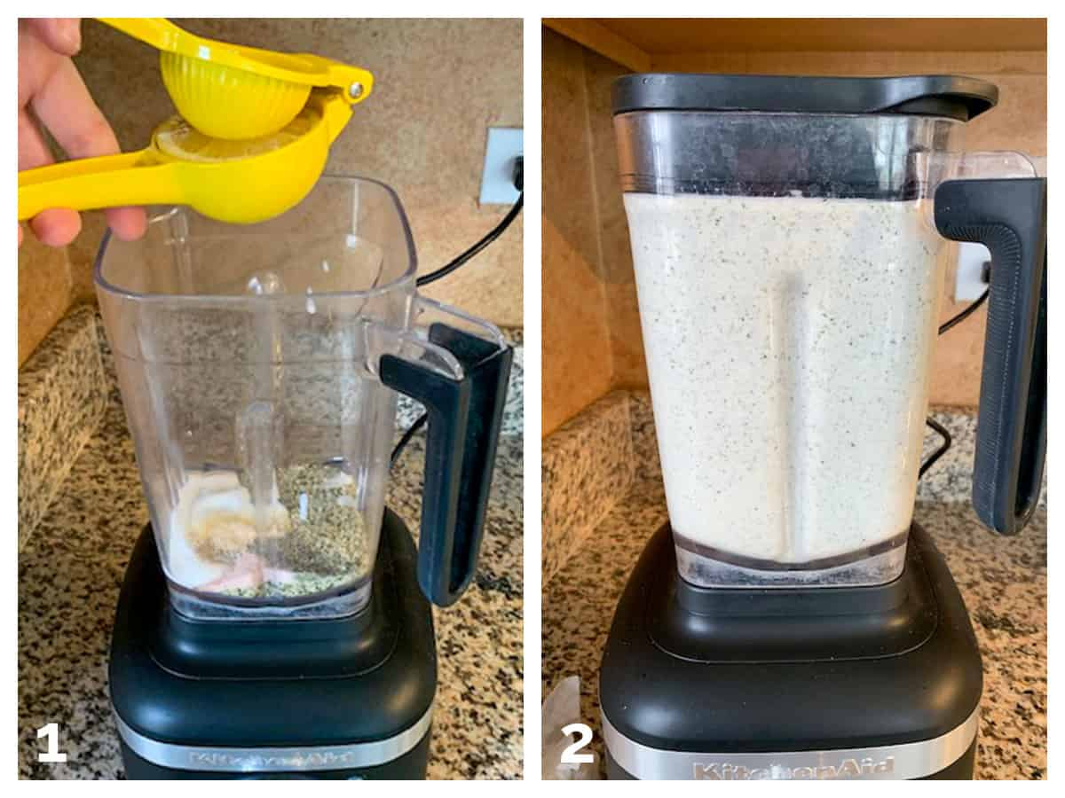 2 photo collage of adding the ingredients to a blender and puréeing them.