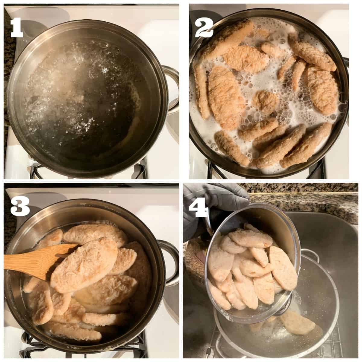 4 photo collage showing steps to rehydrate and boil vegan chicken filets.