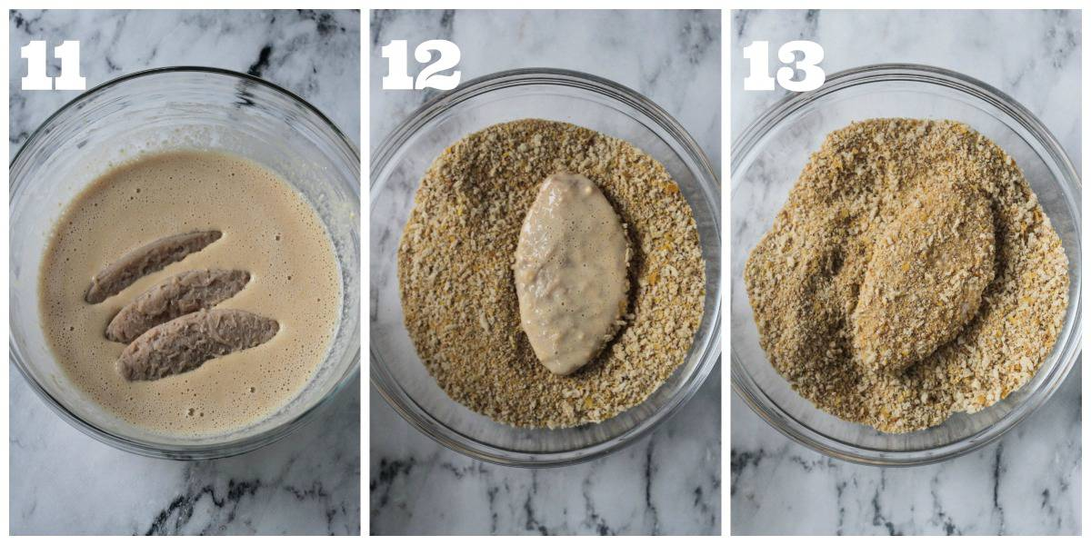 3 photo collage showing how to batter and bread the vegan chicken.