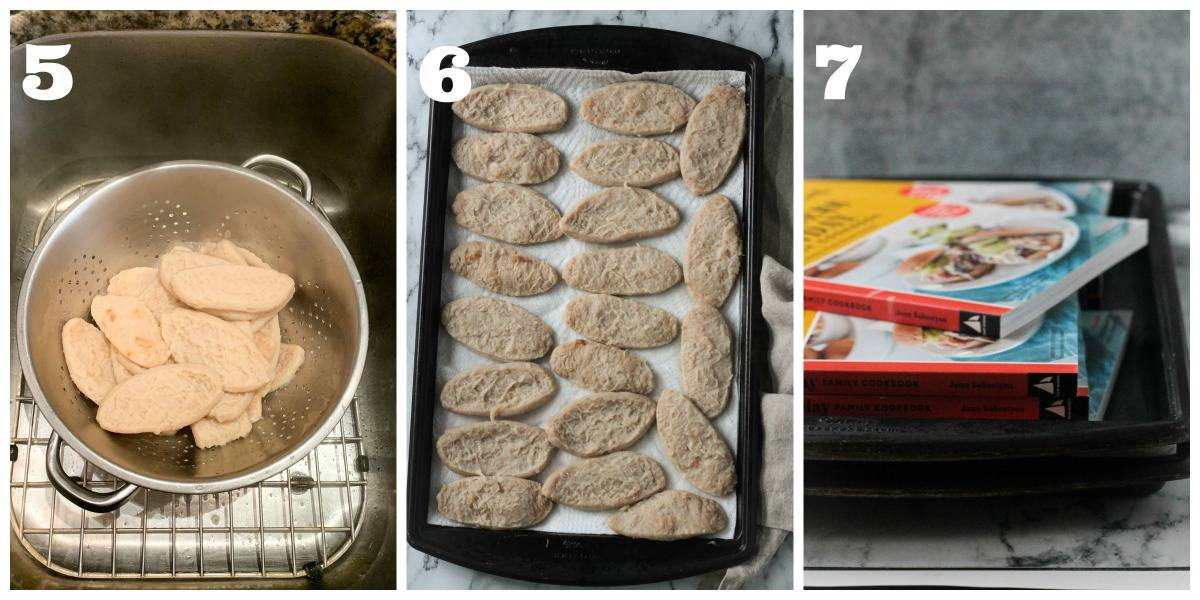 3 photo collage showing how to drain and press the filets.