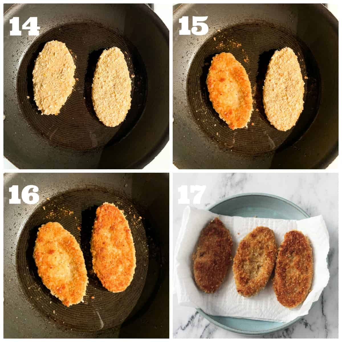 4 photo collage showing how to pan fry the breaded vegan chicken cutlets.